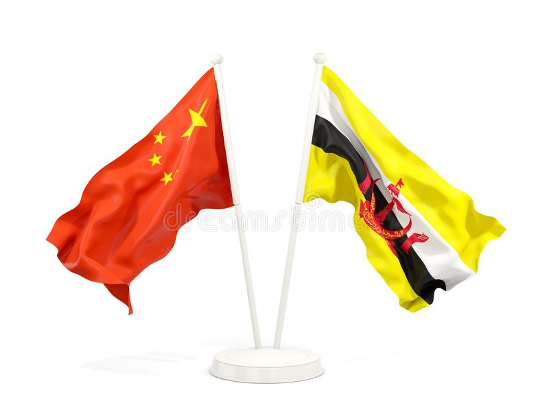 Two waving flags of China and brunei isolated on white. 3D illustration royalty free illustration