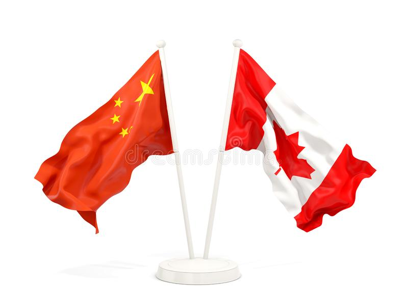 Two waving flags of China and canada isolated on white. 3D illustration stock illustration