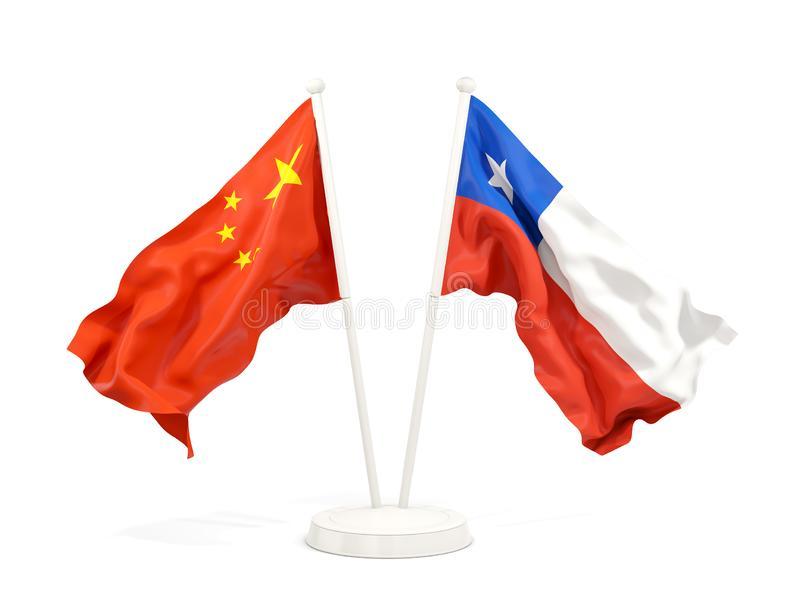 Two waving flags of China and chile isolated on white. 3D illustration royalty free illustration