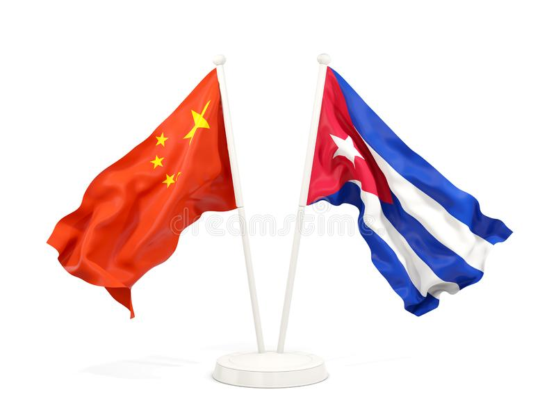 Two waving flags of China and cuba isolated on white. 3D illustration royalty free illustration