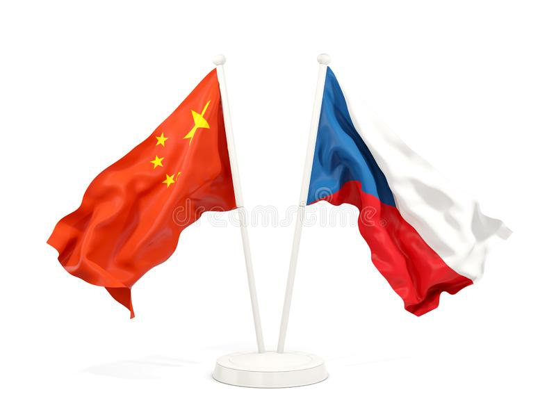 Two waving flags of China and czech republic isolated on white. 3D illustration vector illustration