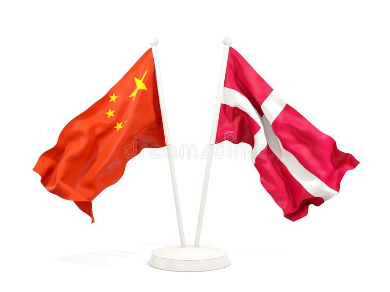 Two waving flags of China and denmark isolated on white. 3D illustration stock illustration