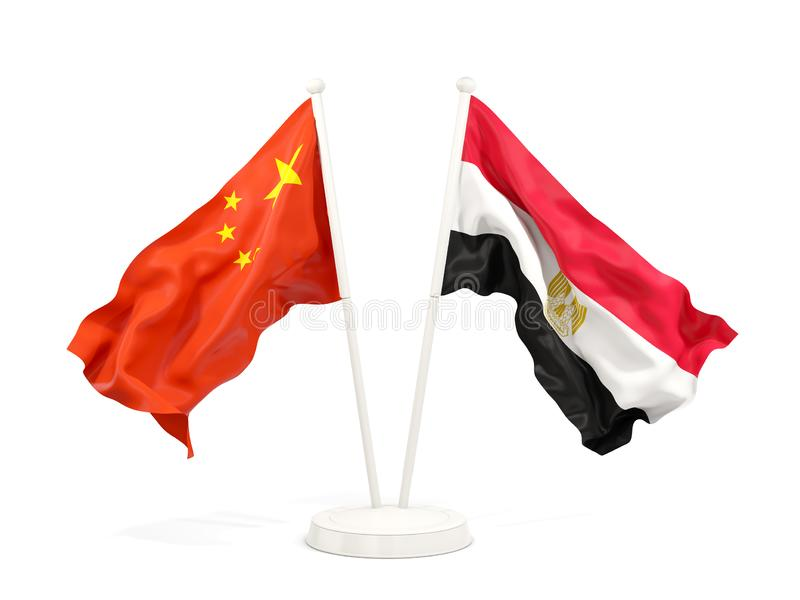 Two waving flags of China and egypt isolated on white. 3D illustration stock illustration