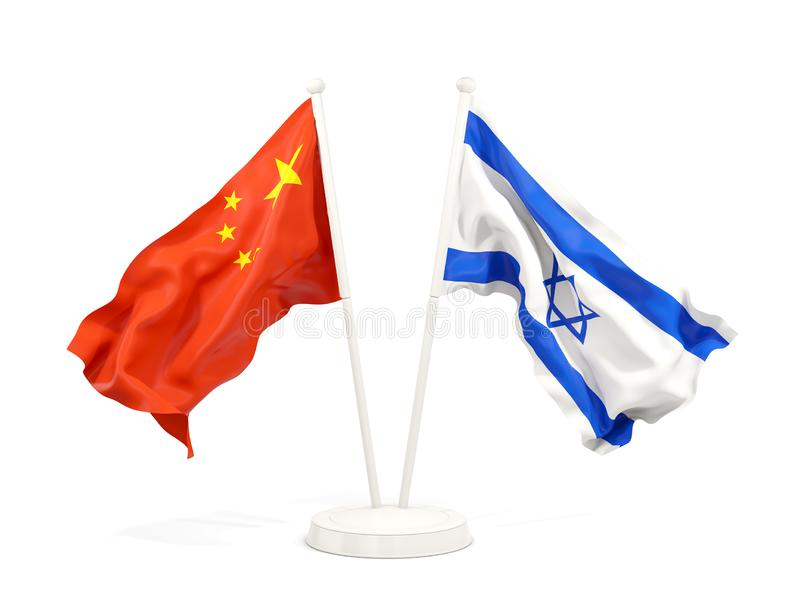 Two waving flags of China and israel isolated on white. 3D illustration vector illustration