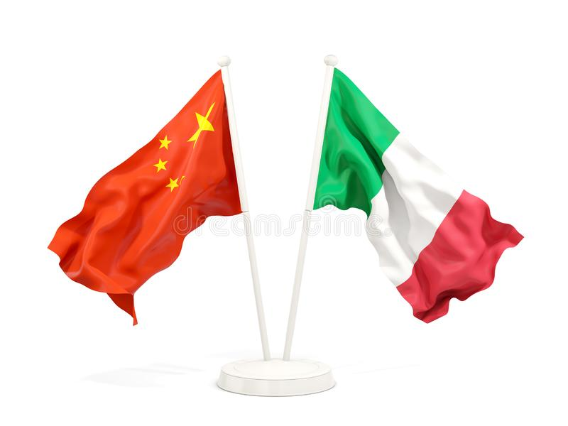 Two waving flags of China and italy isolated on white. 3D illustration stock illustration
