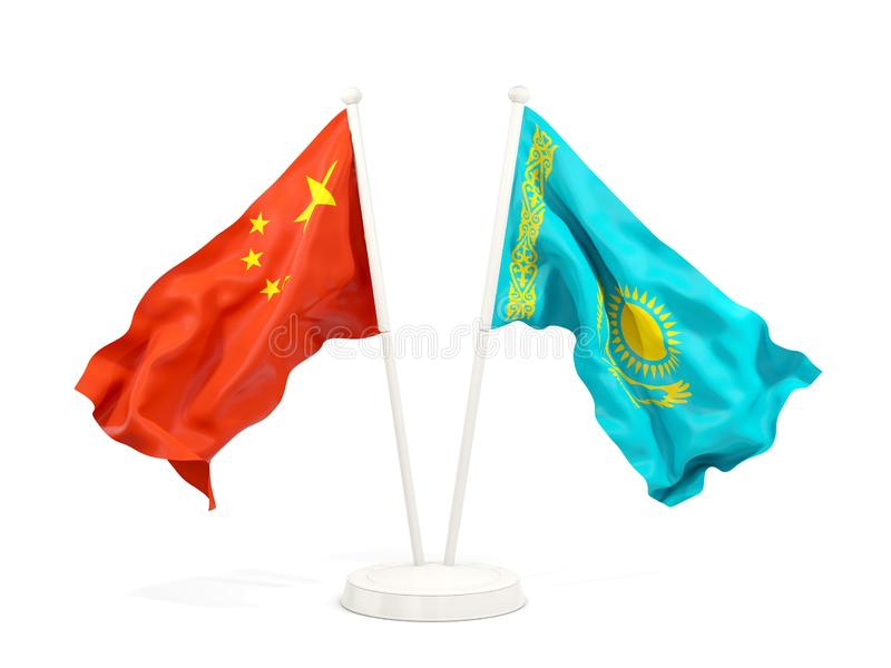 Two waving flags of China and kazakhstan isolated on white. 3D illustration royalty free illustration