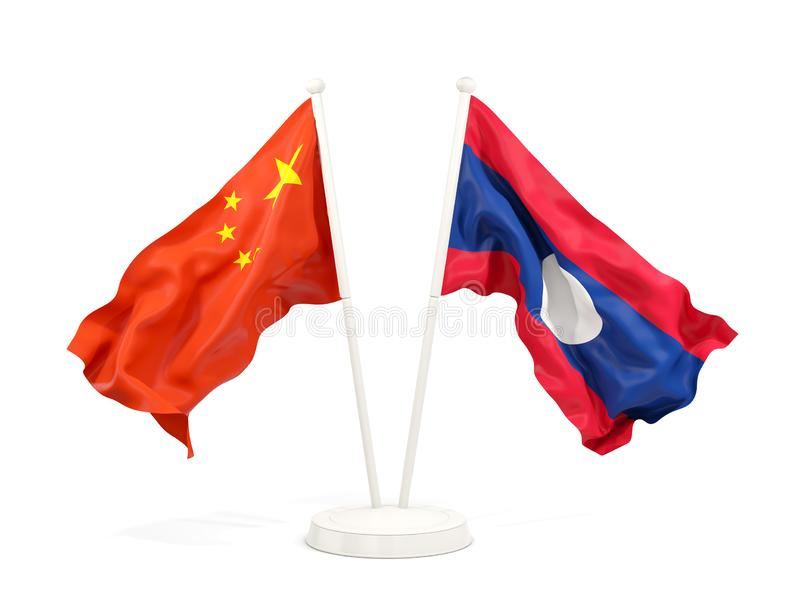 Two waving flags of China and laos isolated on white. 3D illustration vector illustration