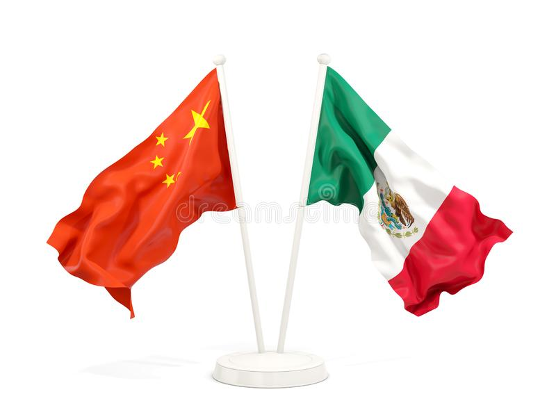 Two waving flags of China and mexico isolated on white. 3D illustration stock illustration