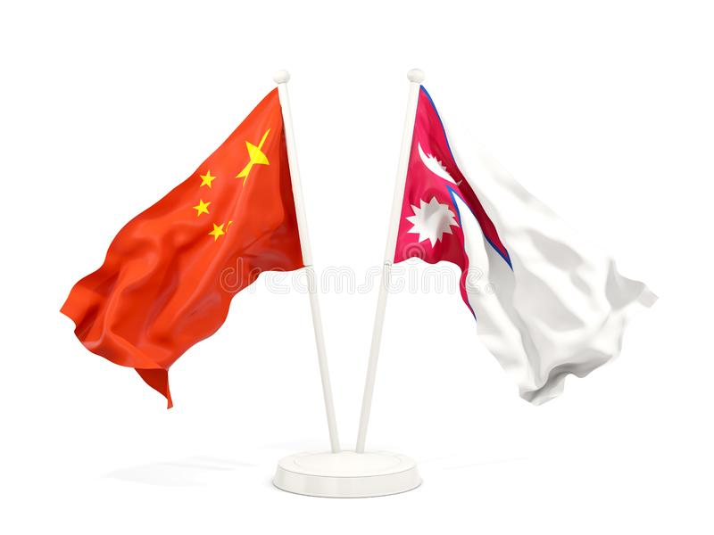 Two waving flags of China and nepal isolated on white. 3D illustration royalty free illustration