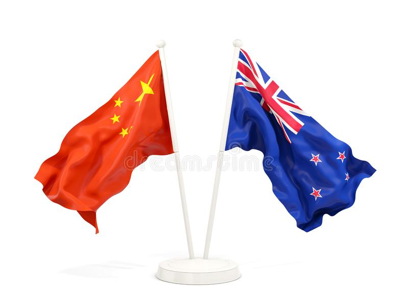 Two waving flags of China and new zealand isolated on white. 3D illustration royalty free illustration