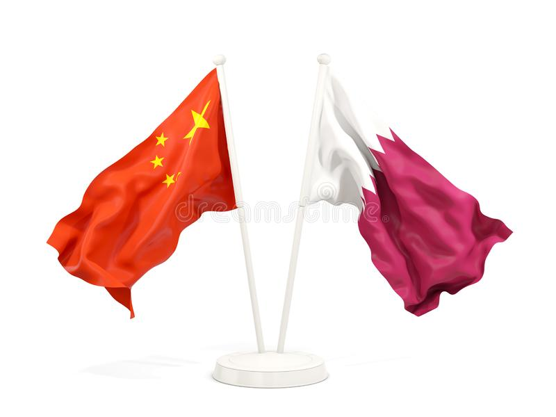 Two waving flags of China and qatar isolated on white. 3D illustration royalty free illustration
