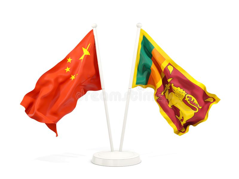 Two waving flags of China and sri lanka isolated on white. 3D illustration stock illustration