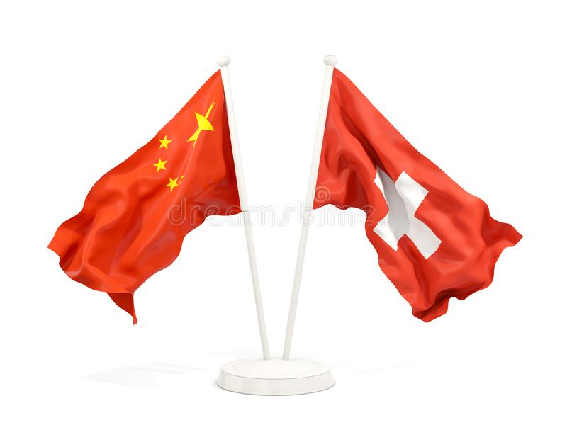 Two waving flags of China and switzerland isolated on white. 3D illustration stock illustration