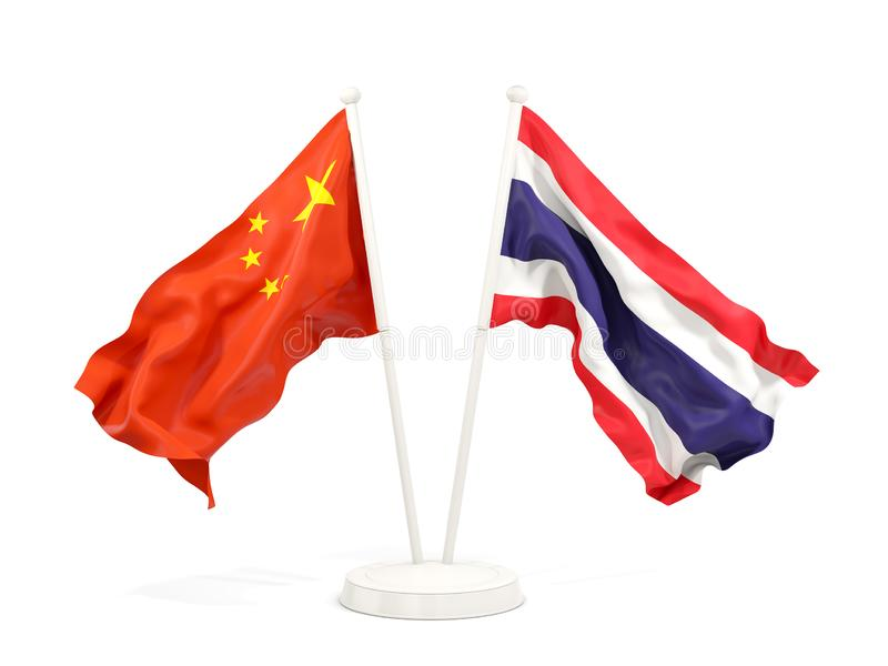 Two waving flags of China and thailand isolated on white. 3D illustration stock illustration