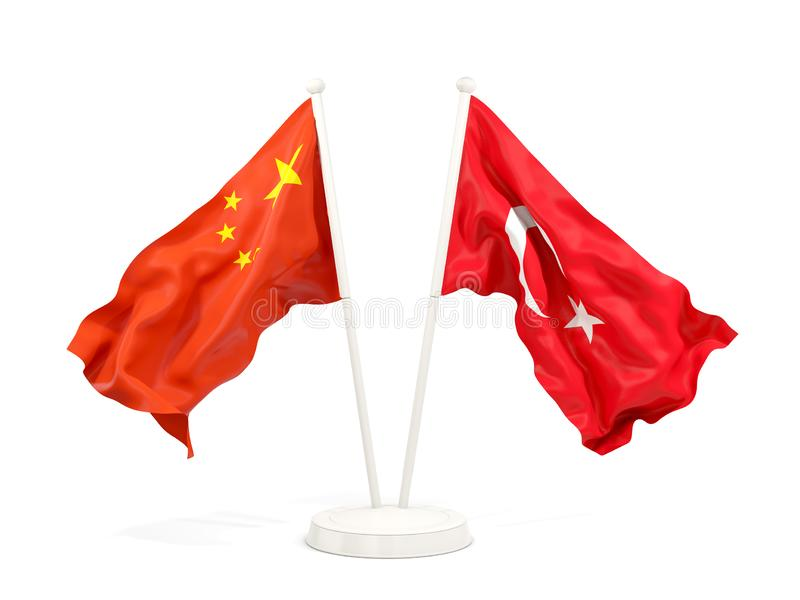 Two waving flags of China and turkey isolated on white. 3D illustration royalty free illustration