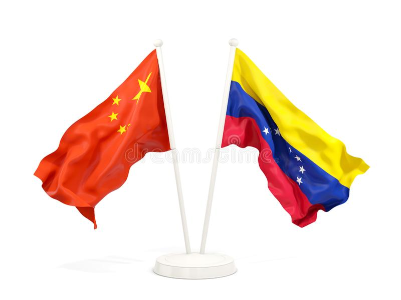 Two waving flags of China and venezuela isolated on white. 3D illustration royalty free illustration