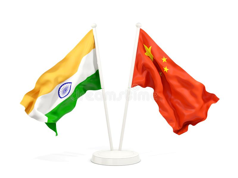 Two waving flags of India and china isolated on white. 3D illustration vector illustration