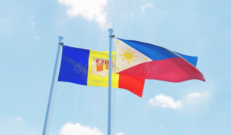 Two waving flags vector illustration