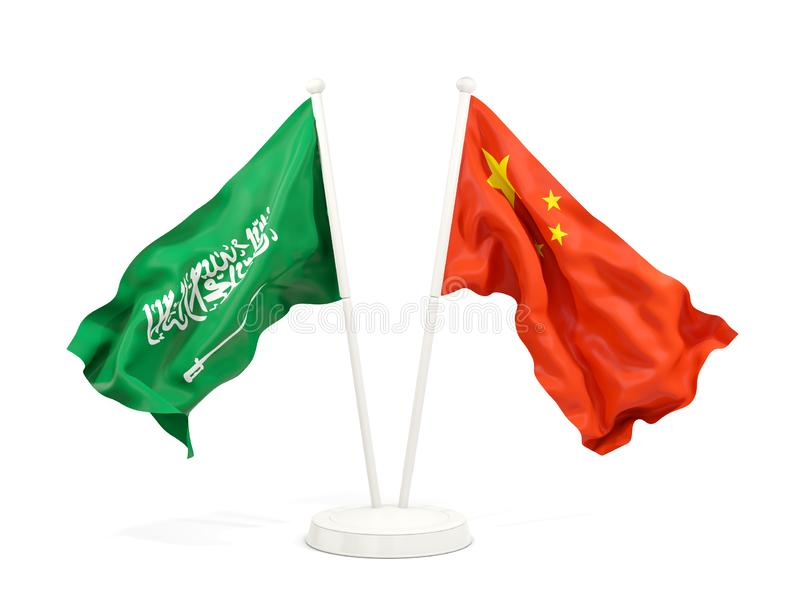 Two waving flags of Saudi Arabia and china isolated on white. 3D illustration stock illustration