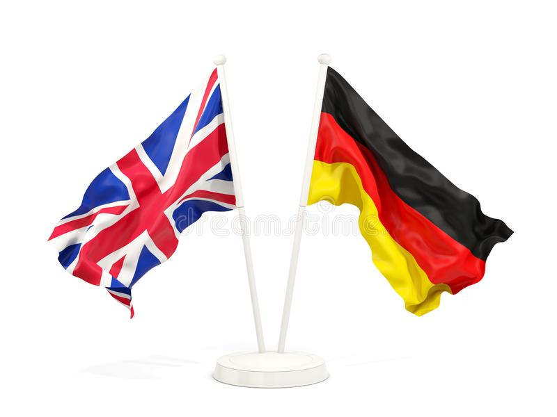Two waving flags of UK and germany royalty free illustration