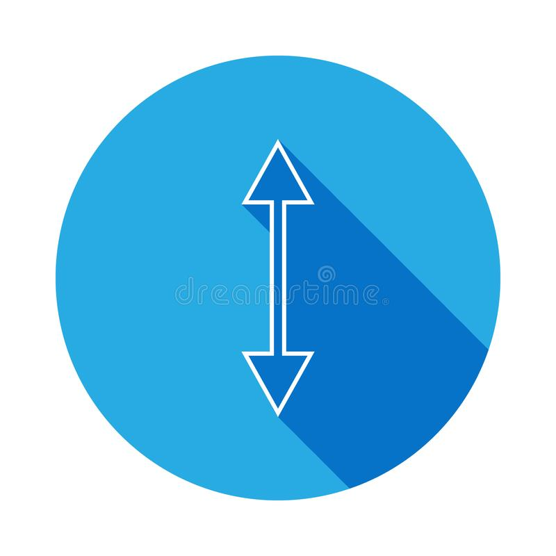 two way arrow icon with long shadow. Thin line icon for website design and development, app development. Premium icon on white stock illustration