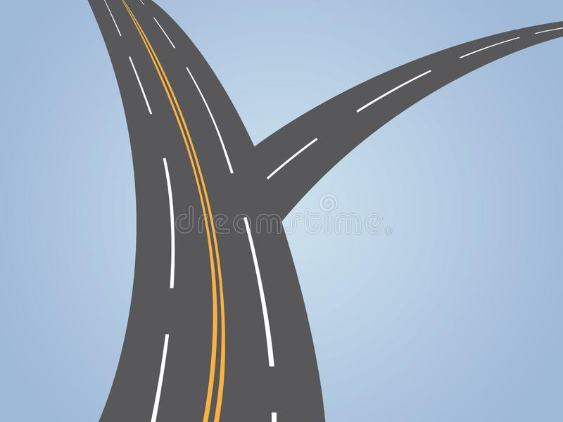 A two way asphalt highway where small connecting road with main lane. Vector illustration royalty free illustration