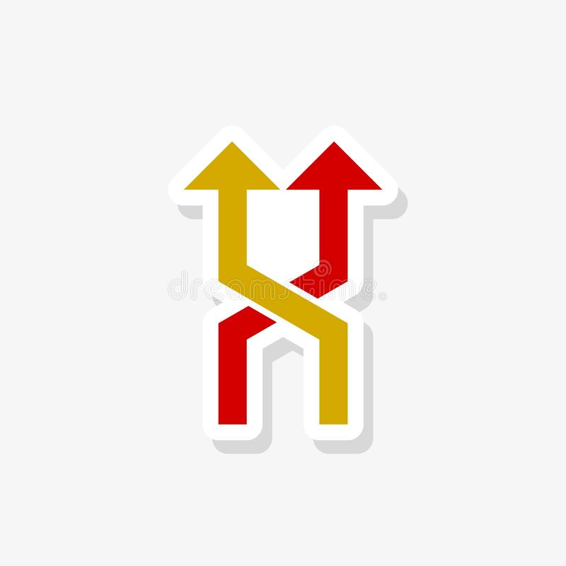 Two way direction arrow sticker. Filled flat sign for mobile concept and web design vector illustration