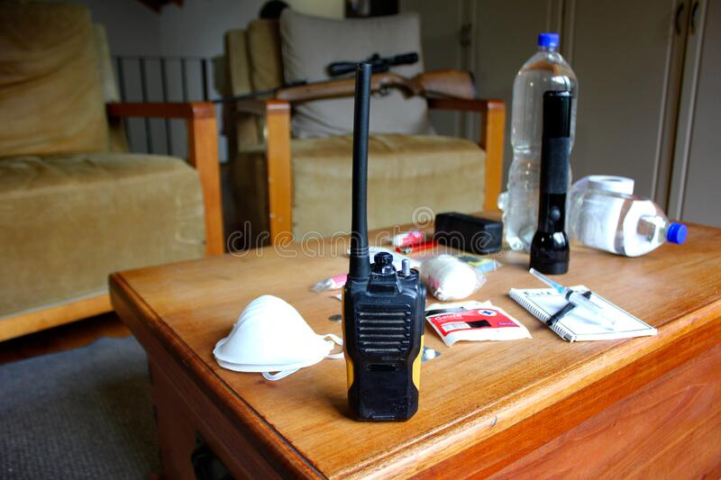 A two way radio, in emergency lockdown. royalty free stock photo