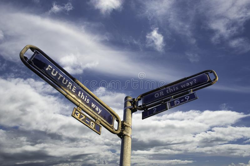 Which way to go stock image