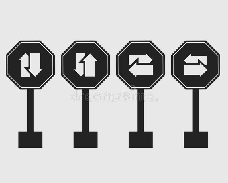 Two way street sign icon. stock illustration