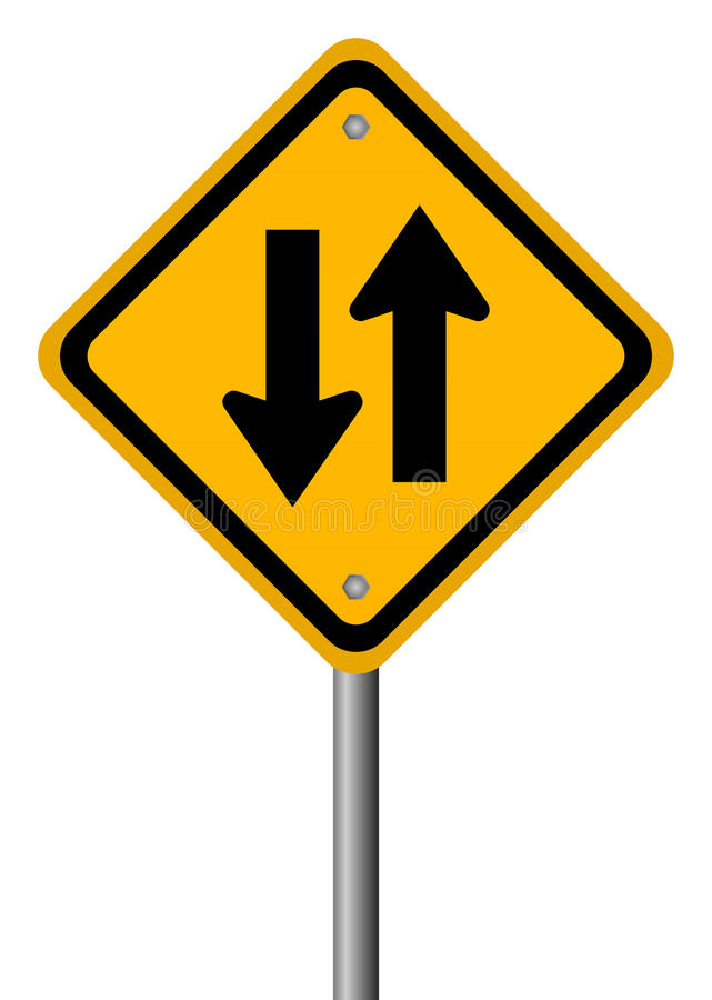 Two way traffic sign royalty free illustration