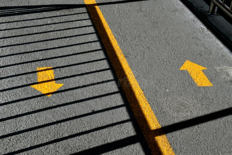 Two way traffic arrows on street stock photography