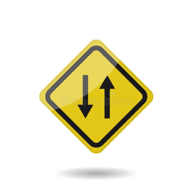 Two way Yellow vector sign stock illustration