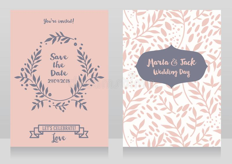 Two wedding cards with twigs and dots. Romantic style, vector illustration vector illustration