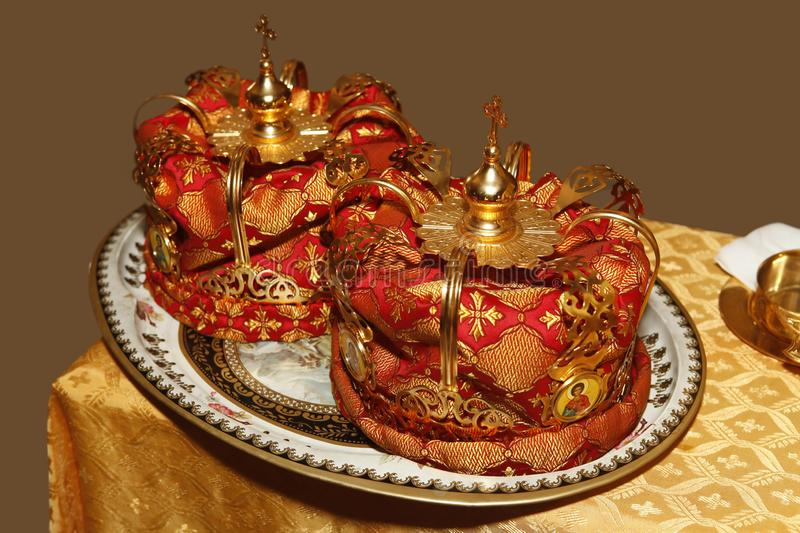 Two wedding crowns in the church. Two wedding crowns in the Russian church stock photo