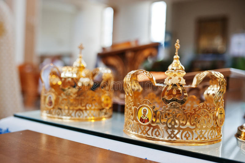 Two wedding crowns at church on wedding ceremony.  stock image