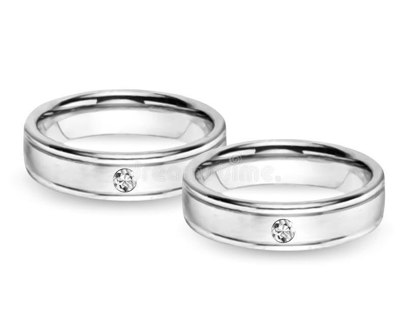 Two Wedding Diamond Rings. Vector background. Two wedding diamond rings isolated on white vector illustration
