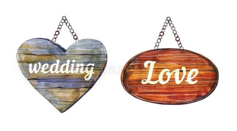 Two wedding hanging decorative wooden signposts with titles. Hand drawn watercolor illustration. Isolated on white background royalty free illustration
