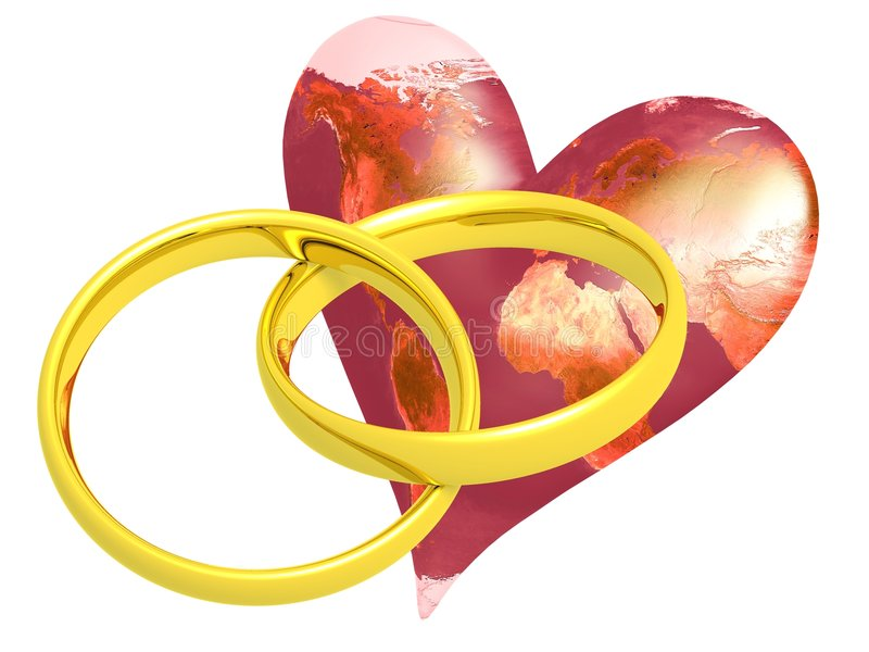 Two Wedding Rings with Earth. Two Wedding rings with heart, and Earth, isolated on white stock illustration