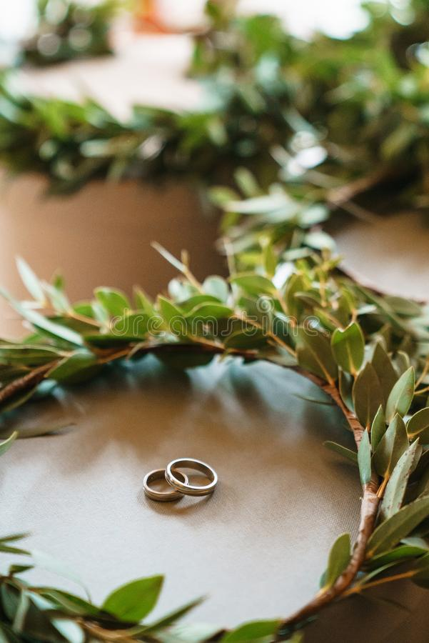 Two wedding rings inside a wreath made of natural eucalyptus. The concept of a wedding day royalty free stock image