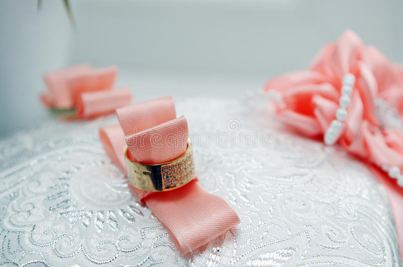 Two wedding rings. Lie on a tray royalty free stock images