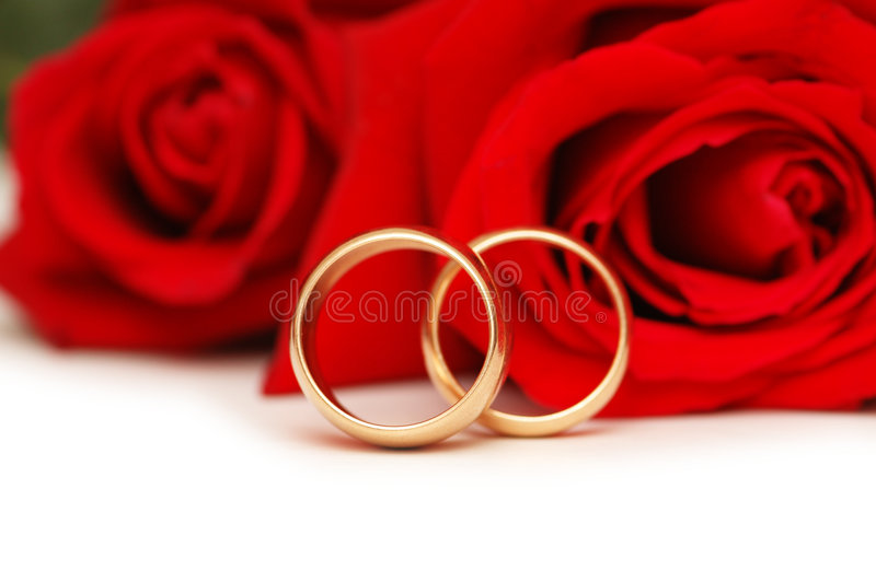 Download Two Wedding Rings And Roses Isolated On White Stock Images - Image: 5910364