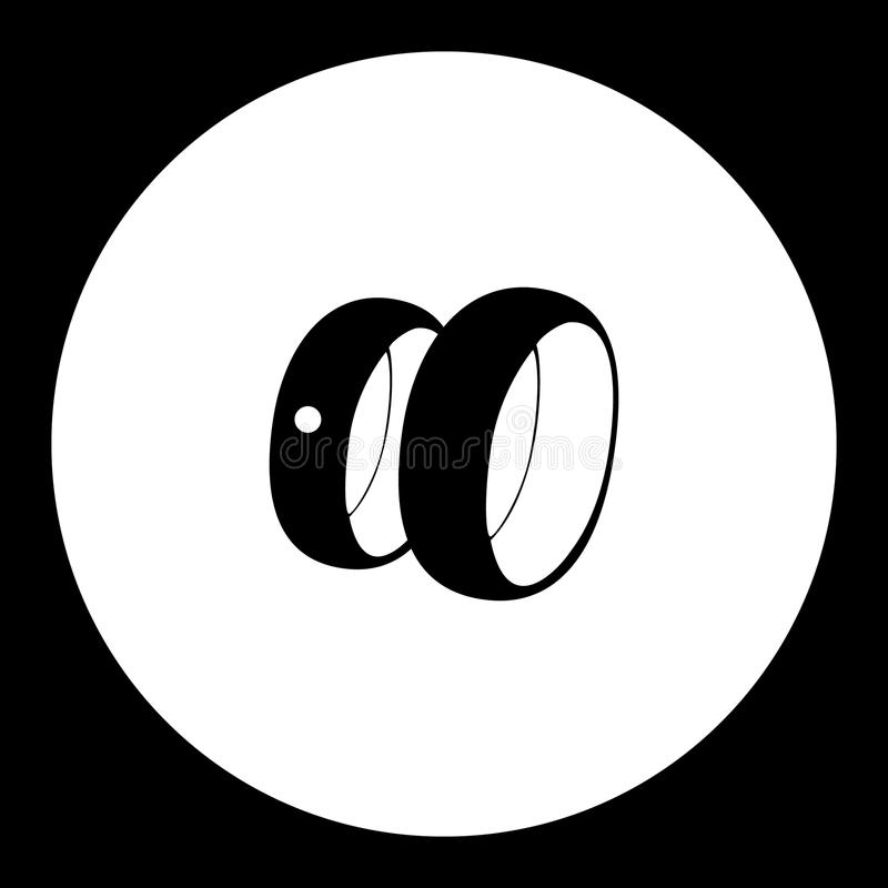 Two wedding rings simple silhouette black icon eps10 stock illustration
