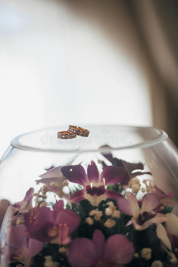 Two wedding rings on vase stock images