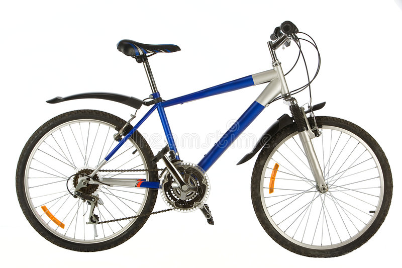 Two-wheeled bicycle. Close up on a white background royalty free stock photo