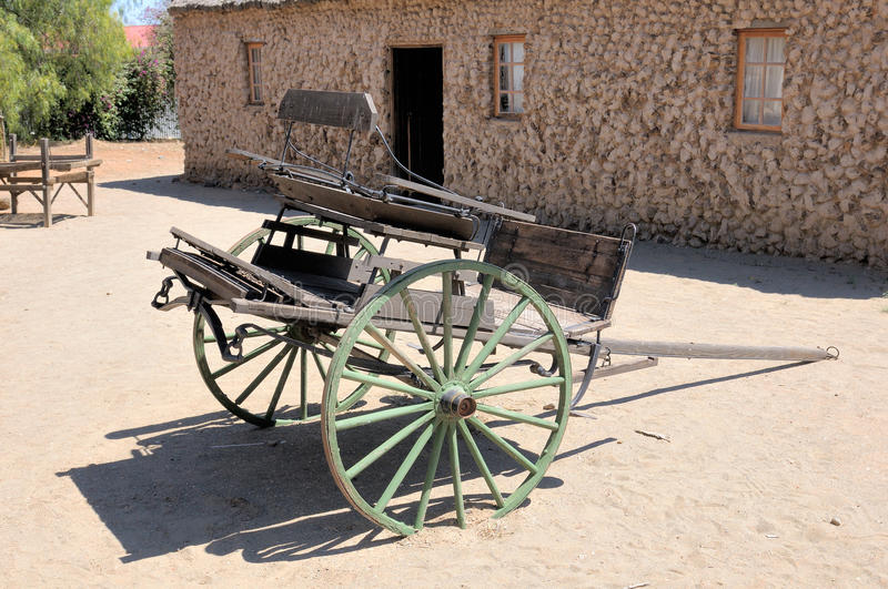 Two-wheeled horse drawn cart. At the Big Hole in Kimberley, South Africa royalty free stock image
