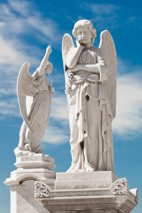 Two white angels stock photography