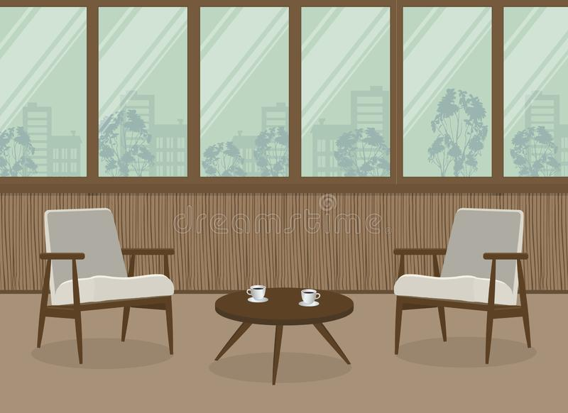 Two white armchairs and a coffee table on a window background. Interior of balcony-loggia with wooden walls. Vector illustration stock illustration
