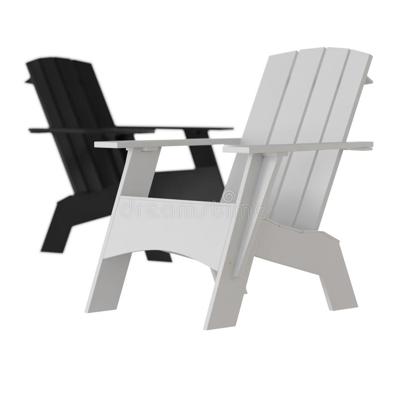 Two white and black garden wooden chairs on a white background stock illustration