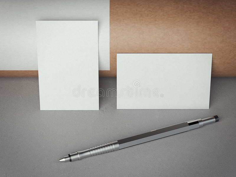 Two white blank business cards. 3d rendering. Two white blank business cards with pen on gray floor. 3d rendering vector illustration